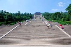 Stairway up  to the mausoleum of Dr. Sun Yat Sen. The main hall of Dr. Sun Yat Sen Mausoleum Zhongshan Ling in Purple Mountain, Nanjing, Jiangsu Province, China Stock Image
