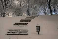 Stairway in winter snowy night Royalty Free Stock Photo