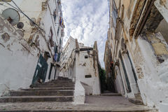 Stairways at the ancient part of old city of Algeria, called casbah(kasaba).Old city is 122 metre Royalty Free Stock Image