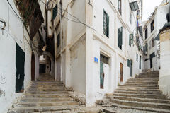 Stairways at the ancient part of old city of Algeria, called casbah(kasaba).Old city is 122 metre Royalty Free Stock Photos