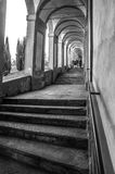 Stairways of the arcades that lead to the sanctuary of San Luca. In bologna - Emilia-Romagna - Italy Royalty Free Stock Image