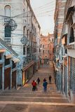 Stairways famous Rialto Bridge in Venice Royalty Free Stock Photography