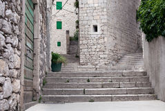 Stairways of medieval mediterranean city. Stone made stairways and walls of medieval mediterranean city Stock Image