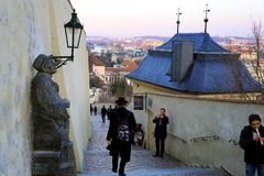 Stairways. Praga, Czech Republic in the sunset stock images