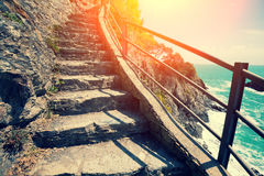 Stairways on rock Stock Photo