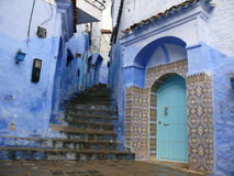 Stairways and Street in Blue in Chefchaouen Royalty Free Stock Image