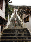 Stairways to a Buddhistic Himalayan Monastary in Monsoon Stock Image