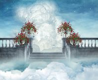 Stairways to heaven. Fantastic view of a flowered stair in the heaven Stock Photo