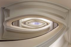 Stairwell building, oval staircase inside building stock photo