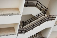 Stairwell fire escape outdoor building. Royalty Free Stock Images