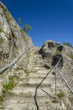 Stairwell leading to the ovech fortress in Provadia stock image