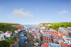 Staithes, North Yorkshire, Engeland stock foto's