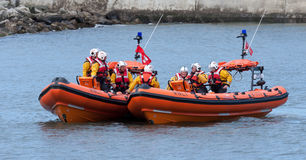 STAITHES, NORTH YORKSHIRE/UK - AUGUST 21 : RNLI lifeboat display Royalty Free Stock Images