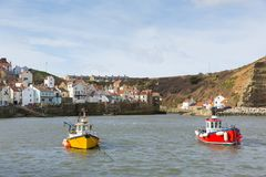 Staithes Yorkshire boats in the harbour coast village Stock Photography