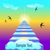 Staiway aan hemel Vectorillustratie met steekproeftekst Stock Fotografie