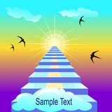 Staiway to heaven. Vector illustration with sample text Stock Photography