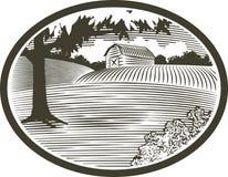 stajni sceny woodcut ilustracja wektor