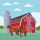 Stajnia i konie ilustracja wektor