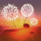 Stajnia pod magicznymi drzewami ilustracja wektor