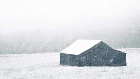 Stajnia Z Śnieżny Spadać zbiory wideo