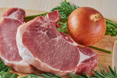 Stake and onions close up Royalty Free Stock Photos