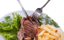 Stake with potato free on the plate Stock Photos