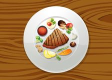 Stake and Salad Top View. Illustration vector illustration
