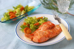 The stake of a salmon fried on a grill Stock Image