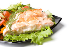Stake from a salmon with vegetables Stock Image