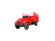 Stake Truck. This is a picture of an old red 1940s flat bed stake style farm truck, isolated on white Royalty Free Stock Photography