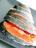Stakes Of Salmon On Plate Stock Photo