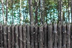 Staket av trädstammar arkivfoto