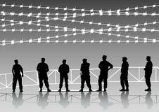 staket bemannar polis stock illustrationer