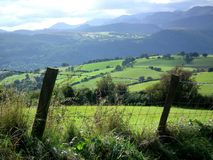 Staket, fält och kullar royaltyfri foto