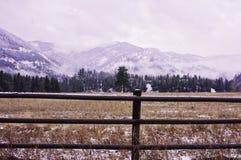 Staket för Rock Creek vinterstång arkivfoto