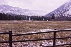Staket för Rock Creek vinterstång royaltyfria foton