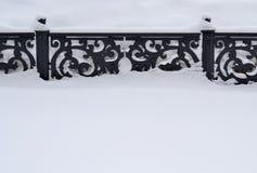 Staket i snowen Royaltyfria Bilder
