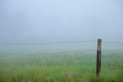 Staket och dimma på vårmorgonen Arkivbilder