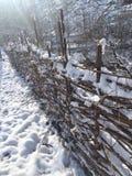 Staket och snow royaltyfri fotografi