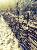 Staket och snow royaltyfri bild
