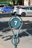 Staket och tecken av parkeringsplatsen Royaltyfria Bilder