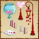 Staketet, lyktan och andra objekt i hjärta formar vektor illustrationer