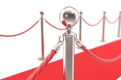 Staketpol för röd matta med fäste rep Closeup grund fokus illustration 3d royaltyfri illustrationer