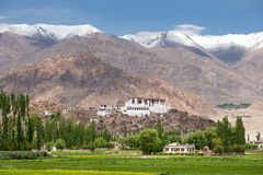 Stakna gompa temple buddhist monastery with a view of Himalaya mountains in Leh. Ladakh, Jammu and Kashmir, India royalty free stock photos