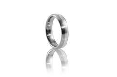 Stal nierdzewna pierścionek z srebną intarsją 2 Zdjęcia Stock