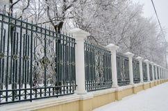 stal parka ogrodzenie pudrujący z mrozem brać od persperkivoy Zdjęcie Stock