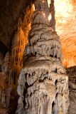 Stalactite column in cave Royalty Free Stock Photo