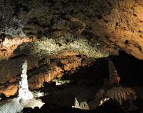 Stalactite and stalagmite cave, Slovakia Stock Image