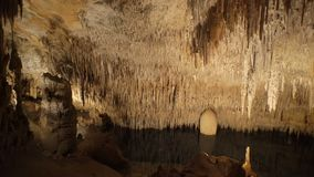 Stalactite stalagmite cave stock video footage
