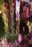 Stalactite and Stalagmite Formations. Image of stalactite and stalagmite formations all lighted up at Assembly Dragon Cave, Yangshuo, Guilin, China Stock Photos